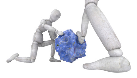 3d doll: 3d doll puppet model Two figures of experienced experts consider blue stone, like a piece of alien species. One of them was holding his head and puts his foot on the rock. The other sat down on one knee and touching discovery