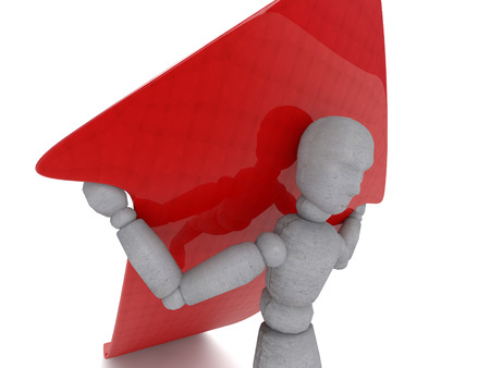 3d doll: 3d puppet model figure of a man holding a red arrow growing on his shoulders, showing his view of how perseverance and the will to help achieve success. Doll is a divorced and a little bent legs, holding hands wear Stock Photo