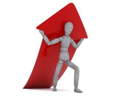 people in action: Character is holding on his shoulders a red glossy arrow that points up. The picture shows a craving for victory, labor, force growth and results.