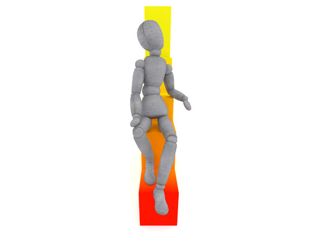 height chart: doll model sitting on the graph in a pensive pose