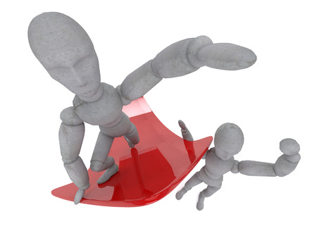 craving: Character is holding on his shoulder glossy red arrow that points up. Another doll showing winning gesture. The picture shows a craving for victory, labor force growth and results.