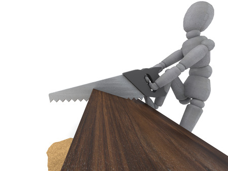 sawing: Doll Model sawing wooden block with inscription impossible