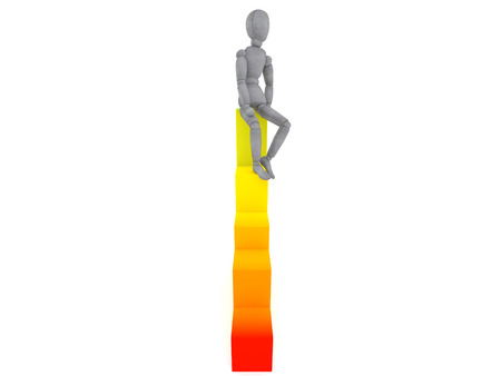 relaxed: doll model sits on the highest point of the graph in a relaxed position