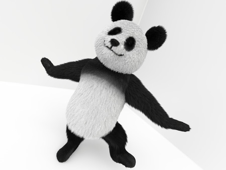 stuffed: panda 3d character with hairs standing on white background in dynamic pose composition Stock Photo