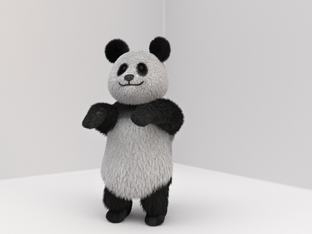 sat: fluffy three-dimensional panda playing sports. bear sat down and stretched the front paws Stock Photo