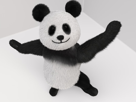 top animated: fluffy three-dimensional panda pulls paw up