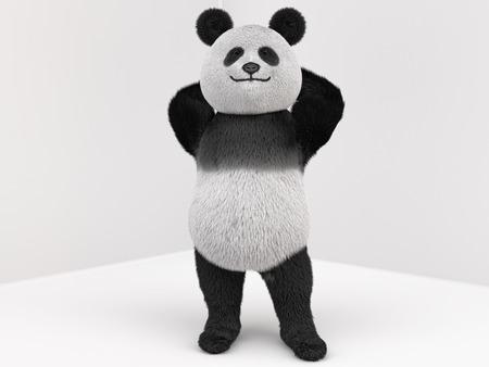 oso panda: la mascota de la panda de carácter permanente en una pose de confianza con las manos detrás de la cabeza