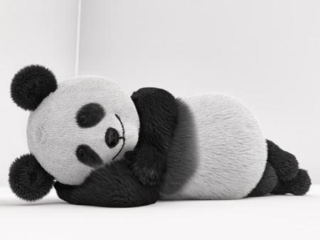 one panda: furry panda lying on its side, and sleeps
