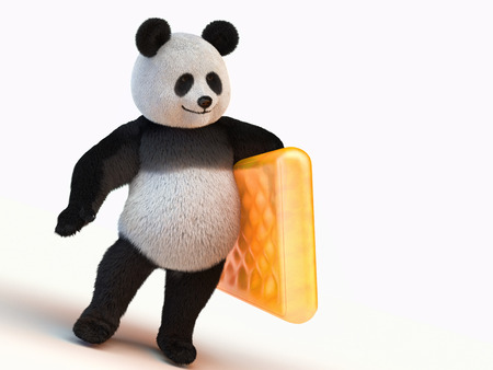 one panda: furry panda stands on two legs and holding the left leg orange inflatable mattress Stock Photo