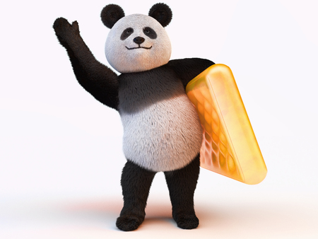one panda: fuzzy panda stands on two legs and holding the left leg orange inflatable mattress Stock Photo