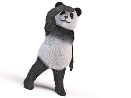 afar: character doll giant panda looks afar closing his hand eyelid. bamboo fluffy plush toy bear. the future of endangered species. cover eyes from the sun with his paw. character looks into the distance