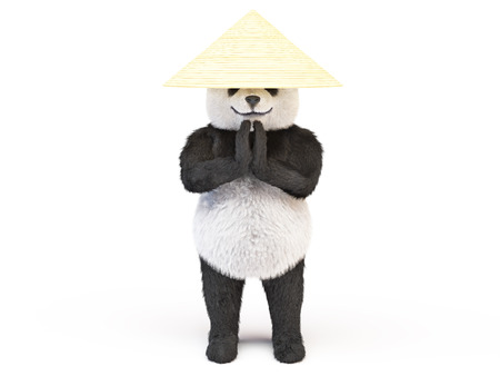 respectful: concentrated relaxed kung fu panda asian straw hat standing respectful namaste posture clasped hands greeting. animal engaged Chinese martial arts in hat collector rice. Illustration about cute bear Stock Photo