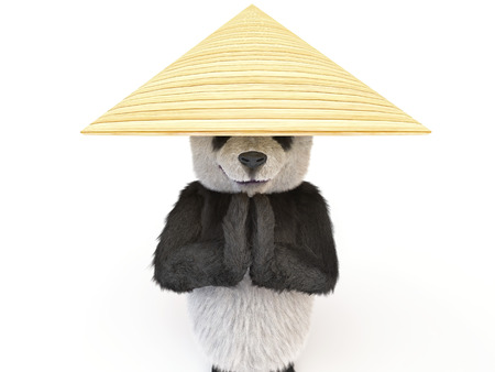 fighting arts: panda mysterious warmaster folded his hands in national Thai greeting called Wai. Bear wearing palm rice hat. illustration about Buddhism, fighting arts, Asian culture, meditation, yoga and ushu
