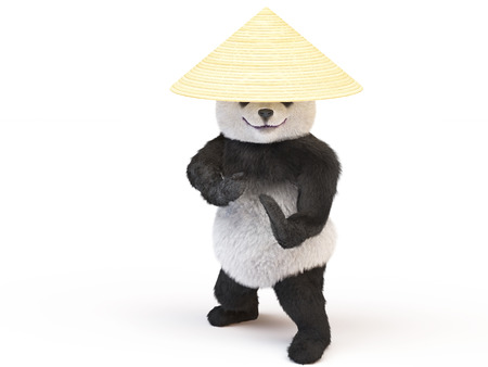 fighting arts: Panda Ninja conical straw hat in a fighting stance was preparing to strike. fighter eastern single combats going to attack. Illustration for the championship of fighting arts or karate school
