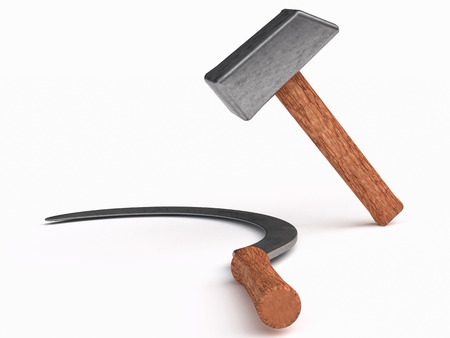 labourers: hammer  industrial labourers and sickle for peasantry symbol Communist parties; Farm and worker instruments and tools have long been used as symbols for proletarian struggle. Stock Photo