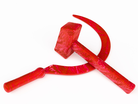 labourers: hammer  industrial labourers and sickle for peasantry; combined  stood for worker-peasant alliance for socialism and against reactionary movements and foreign intervention. symbolizing peaceful labour