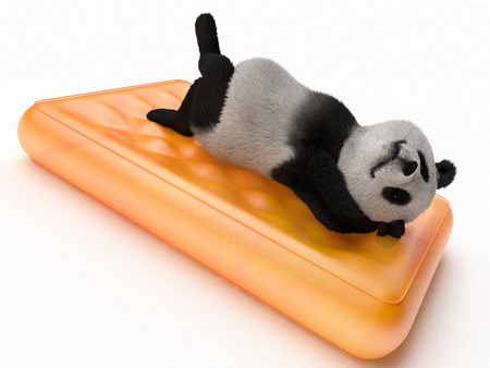 hands behind back: relaxed bear lying on back with hands clasped behind head on orange translucent inflatable mattress. mammal animal resting on bed. render illustration about tourism, leisure, recreation and holidays