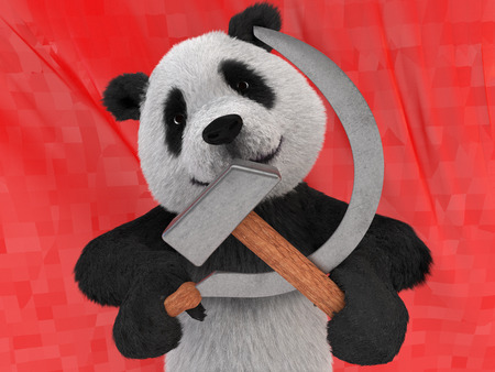 hammer and sickle: maniacal kind of character in black-and-white Chinese panda, also referred to as bamboo bear holding in its paws symbols of the communist parties of world hammer and sickle on red background flag