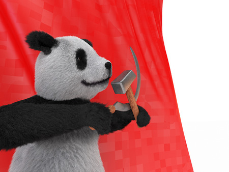 referred: the inspired personage type of black-and-white Chinese panda, also referred to as bamboo bear holding in its paws the symbols of the communist parties of the world the hammer and sickle on red background flag
