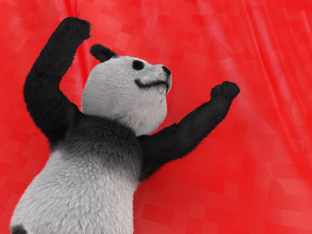 motivations: panda pulls paw up, demonstrating leadership and victory on red background waving flag. illustration of achieving the goals, motivations, victory, hope, faith. mammal erectus character