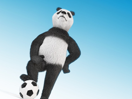 puffed: arrogant football player character proudly puffed out his chest, leaned a paw on his knee, the other leg rested against the stomach and stands with one foot on the ball. on blue sky background Stock Photo