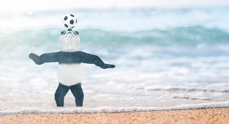 gulf: miniature circus bamboo panda teddy bear stands on beach Gulf of Siam to his ankles in water. and chasing ball on nose. soccer player juggling beautiful background blur on the beach