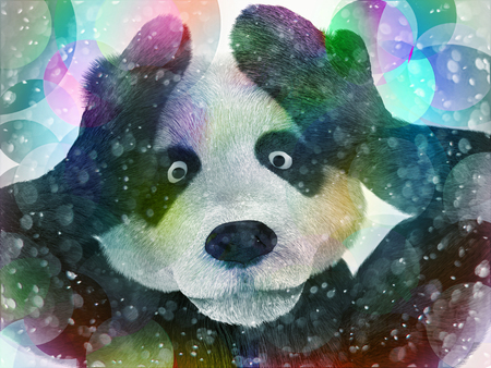 hallucinations: sick character panda bamboo junkie experiencing strong hallucinations and fear closes the muzzle paws. Psychedelic condition of the animal. Stock Photo