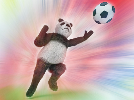rapid: wild panda goalie in the rapid jump trying to catch a soccer ball on a colorful watercolor background blurred. upright character Bear goalkeeper catches pitch. Stock Photo