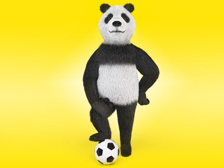puffed: arrogant football player character proudly puffed out his chest, leaned a paw on his knee, the other leg rested against the stomach and stands with one foot on the ball. on yellow background Stock Photo
