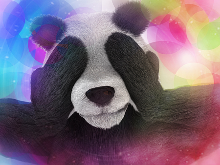 synthetically: sick character panda bamboo junkie experiencing strong hallucinations and fear closes the muzzle paws. Psychedelic condition of the animal. Stock Photo