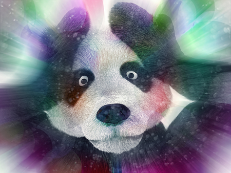 junkie: sick character panda bamboo junkie experiencing strong hallucinations and fear closes the muzzle paws. Psychedelic condition of the animal. Stock Photo