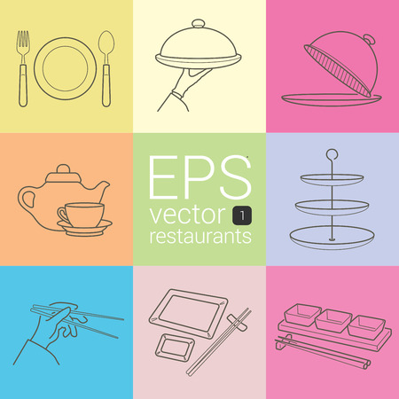food plate: dish, fork, knife, arm with a tray, Cloche, and a cup of tea, tableware, dining hand with chopsticks, Japanese covered with empty plates on table. gravy boat set of different icons about restaurants