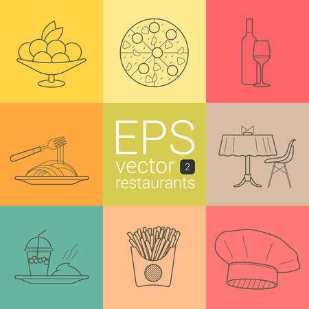 napkins: Plate with fruit and ice cream, pizza with sausage, tomato, cheese, mushrooms, wine, glass, spaghetti, macaroni and fork, covered table with napkins and chair, watermelon shake, mashed potatoes, French fries, chef hat