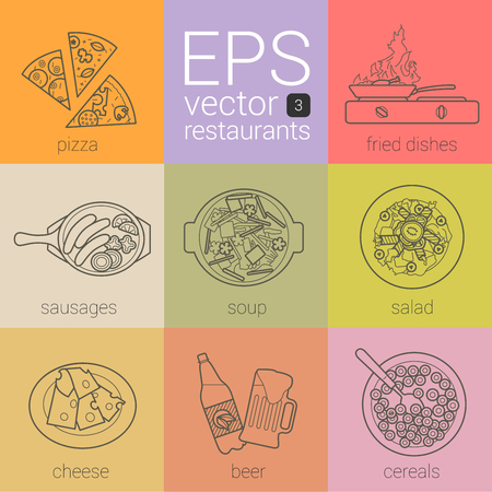 unique restaurant set of thin contour line vector icons. pictograms theme: catering, nutrition. kit different menu categories in cafe. pizzam fried dishes, sausages, soup, salad, cheese, bear, cereals Illustration