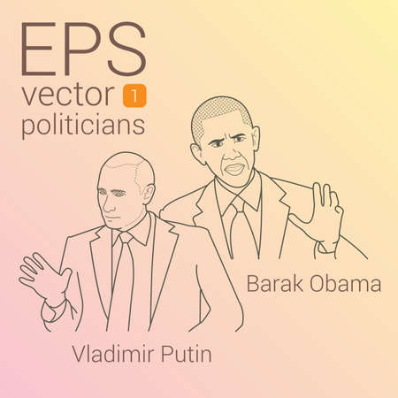 cold war: Contour linear vector portrait of US President Barack Obama and leader Russian Federation Vladimir Putin. beginning of new Cold War. Rift between superpowers.  icon of confrontation between countries. Illustration