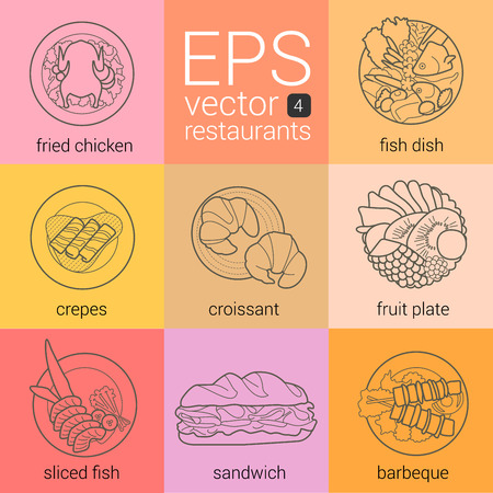 main dishes: Vector set icons outline: fried chicken, fish, pancakes with syrup, croissants, fruit plate, sliced fish, sandwich, kebab. Pictographs website design cafe. Picograms product categories restaurants.