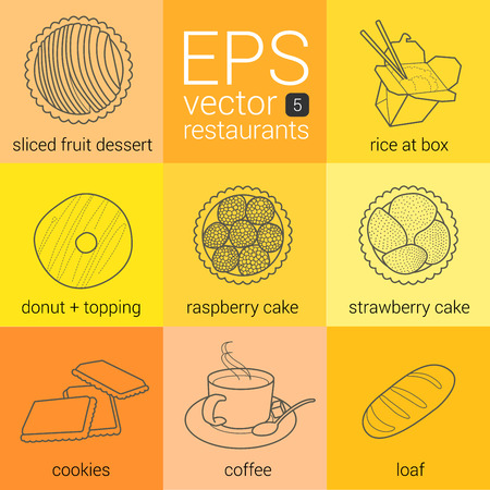 japanese dessert: Set vector contour line icons food, restaurant, catering: chopped fruit dessert donut topping, cakes with berries, biscuits, coffee, loaf, Japanese food boxes, rice. Outline pictograms kit download