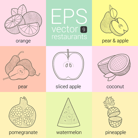 greengrocery: vector icons set. symbols for restaurants, cafeterias, caterers, snack bars, menus, ingredients of food. Outlne contour line art  orange, pear, apple, coconut, pomegranate, watermelon, pineapple. Illustration