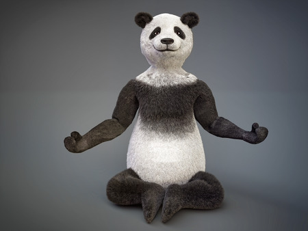 nirvana:  big bamboo panda sitting lotus position Stock Photo