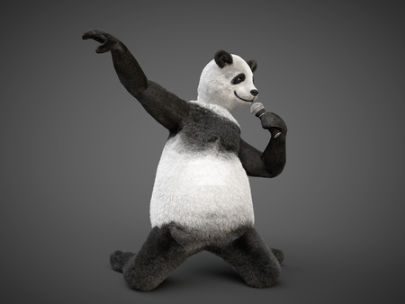 closed mouth:  giant panda kneels and holding mic sing song Stock Photo