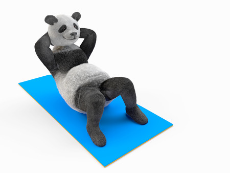 demonstrated: trunk curls, illustration of sports and strengthening muscle tone. improve muscles of stomach and abdominals, demonstrated by fluffy personage character animal panda