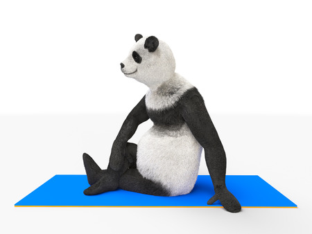 respite: character panda resting after exercise. athlete sits on an ass a blue elastic mat for stretching. respite and break between sports and yoga. Stock Photo
