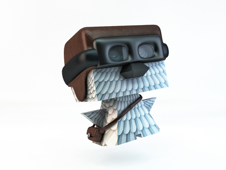 over the shoulder: dove pigeon post carrier pilot. helmet, goggles and bag full of letters over shoulder. illustration for service delivery of letters and parcels. Bird character postman for contact information section. Stock Photo