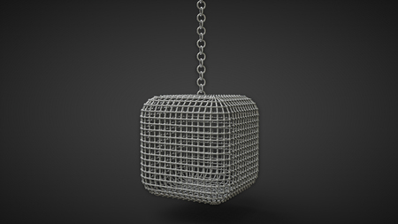captivity: mew cage box shaped hanging on a chain isolated on black background