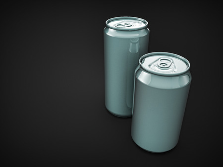 non alcoholic beer: pair metallic beer cans with grey empty blank surfaces. template for placing design of beverage drinks.