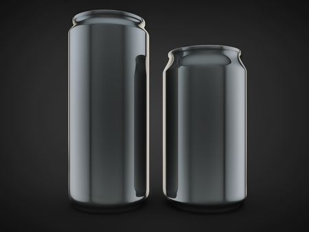 non alcoholic beer: pair alluminium soda can front view empty design isolated black background.