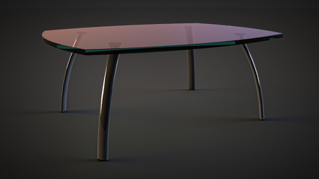 metal legs: glass table with transparent top and metal legs. indoor home furniture on isolated dark background