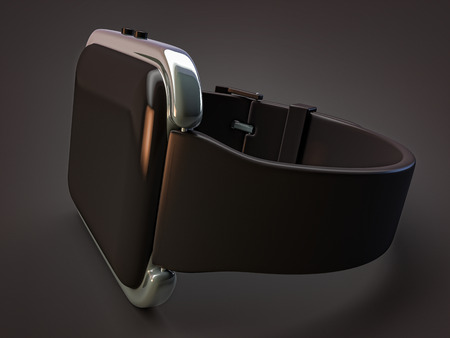bezel: smartwatch wearables with chrome bezel display isolated on dark background