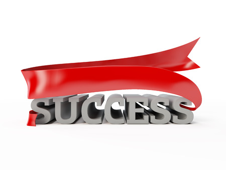 illustration of success word. luck, achievement, advancement, prosperity, eclat. display volumetric letters with red fluttering ribbon - flag cg render picture isolated on white background Banque d'images