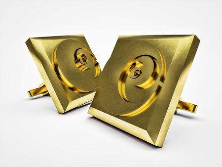 nombre d or: boutons de manchettes dorés avec rapport d'or gravé paire isolé sur fond blanc